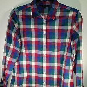 346 Brooks Brothers Button Down Plaid Fitted Shirt